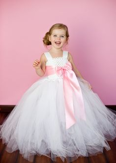 Anna Flower Girl Tutu Dress with Customizeable Sash $138 www.etsy.com    http://www.etsy.com/listing/102206297/anna-flower-girl-tutu-dress-with?ref=sr_gallery_14_search_query=pink+and+white+tutu+flower+girl+dress_view_type=gallery_ship_to=US_page=2_search_type=all#