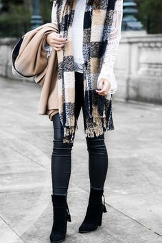 Camel coat outfit, coated skinny jeans, winter chic outfit, plaid scarf, petite fashion blog