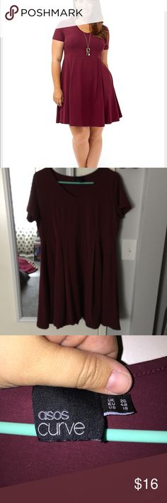 Maroon skater dress Maroon skater dress. Very stretchy and comfortable. VGUC. ASOS Curve Dresses Midi