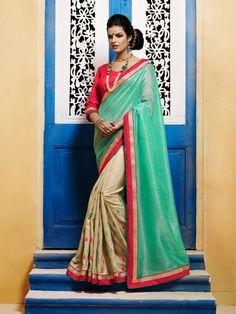 Green N Beige Bhagalpuri Silk Classy Casual Saree