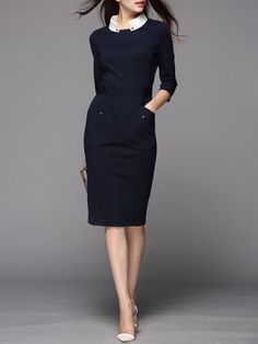 ($86) Navy Blue Pockets Half Sleeve V Neck Cotton-blend Midi Dress