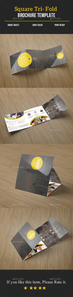 Square Tri Fold Business Brochure — Photoshop PSD #yellow #multipurpose • Available here → https://graphicriver.net/item/square-tri-fold-business-brochure/13744389?ref=pxcr