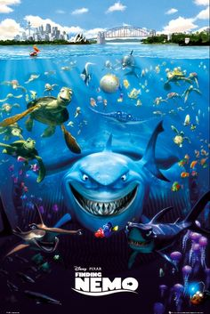 Nemo, an adventurous young clownfish, is unexpectedly taken from his Great Barrier Reef home to a dentist's office aquarium. Finding Nemo Cast, Finding Nemo Poster, Finding Nemo Movie, Finding Dory, Disney Pixar, Disney Art, Cartoon Posters, Disney Posters, Pixar Movies