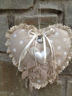 Read more about shabby chic decor Shabby Chic Hearts, Shabby Chic Decor, Lace Heart, Heart Art, Valentine Crafts, Valentines, Sewing Crafts, Sewing Projects, Fabric Hearts