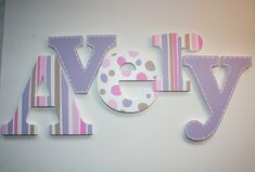 Lavender Stripes, Polka Dots and Stitched Wooden Wall Name Letters / Hangings / Hand Painted for Girls Rooms and Nursery Rooms