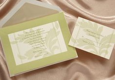 Wedding Invitations by Gossett Printing, Inc: This Moss colored invite is perfectly pretty for a camo wedding.  $130.41 for 100 invitations
