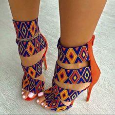 pattern orange blue multicolor heels high heels strappy heels colorful yellow shoes african print african style colorful shoes sandal heels print tribal pattern high heel sandals cute african cultural beaded look. High Heels Stilettos, Strappy Heels, Stiletto Heels, Pumps, Sandal Heels, Sexy Heels, Women's Shoes, Women's Sandals, Sandals Outfit