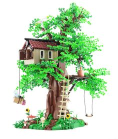 """Tree Houses had always something magical for me. (I was actually reading a book called """"The magic tree house"""" in my childhood. :D ) The symbiosis of the home and the nature has something very idyllic and charming. I wanted to reflect this peaceful atmosphere and the feeling of security in tree houses in my build. Also I had the chance to try my hands on a bigger tree and the challenge to build it sturdy enough so it holds the home. I'm glad Oscar uploaded his amazing roof technique a few ..."""