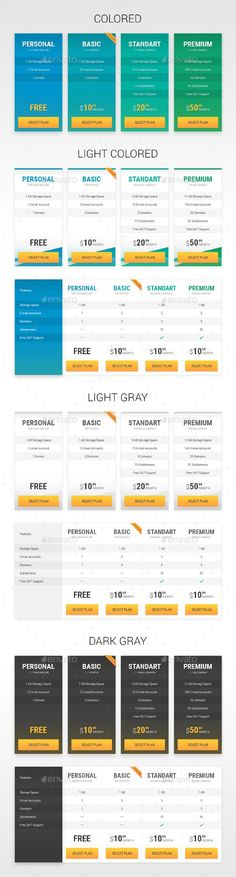 94 best Pricing Tables Templates images on Pinterest in 2018 - pricing table templates