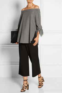 Tibi | Off-the-shoulder stretch-wool twill top | NET-A-PORTER.COM