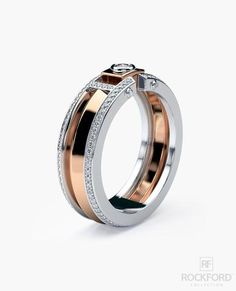 CLEBURNE Two-Tone Gold Mens Wedding Band with 0.45 ct Diamonds