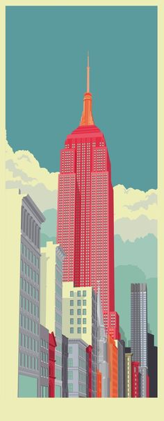 New York illustrations by remko heemskerk, via Behance color poster Avenue New York City, an art print by Remko Gap Heemskerk color architecture Illustration Arte, Gravure Illustration, Graphic Design Illustration, Graphic Art, Creative Illustration, Illustration Example, Building Illustration, Character Illustration, 5th Avenue New York