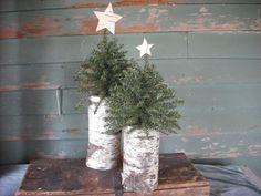 2 Woodland Christmas trees on birch log by NHWoodscreations
