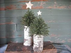2 Woodland Christmas trees on birch log by NHWoodscreations