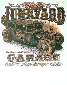 Rat Rod Junkyard Hot Rod Garage Mens Quality Car T Shirt