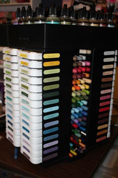CTMH consultant Pam Trostle organized her ink pads in this incredible way!  I want to copy this idea :)