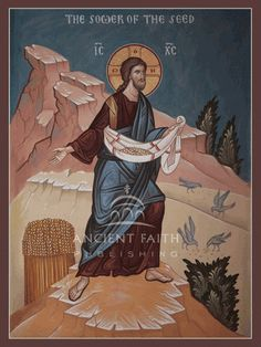 Parable of the Sower of the Seed—  Large mounted icon.   This icon was featured in our 2014 Icon Calendar.