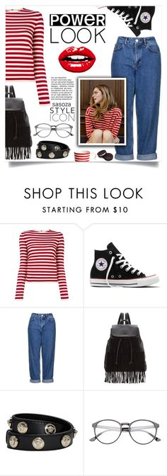 """power look by Sasoza"" by sasooza ❤ liked on Polyvore featuring Sonia Rykiel, Converse, Topshop, Glamorous and Versace"