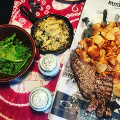 Steak and chips is what happens when you don't catch any fish. Garden salad greens with @thesaladgirl Toasted Sesame dressing and garden kale and Swiss chard with parm bread crumbs a tiny bit of cream cheese garlic and milk. Bake at 350 until toasty. Yum - pass the red wine! #weeklydish #stephaniesdish #burntsidelake #kale #swisschard #gardengreens #saladgirlsaladdressing #dinner #steakandchips #dinner