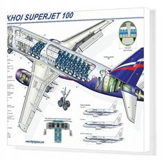 An poster sized print, approx (other products available) - Sukhoi Superjet 100 Cutaway Poster - Image supplied by FlightGlobal - Poster printed in the USA Sukhoi Superjet 100, Aircraft Design, Cutaway, Poster Size Prints, Aviation, The 100, Photo Gifts, Canvas Prints, Image