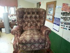 Recliner reupholstered, by Budget Upholstery