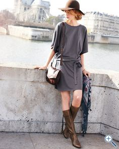 transitional summer to fall outfit... Kimono-Sleeve Jersey Dress from Garnet Hill