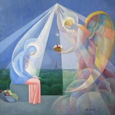 ÁNGEL ZÁRRAGA (Mexican, 1886-1946) The Annunciation, Circa 1928 Oil on canvas