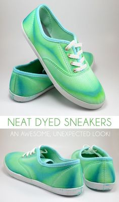 Neat Dyed Sneakers - Turning Around a Craft FAIL These neat dyed sneakers may have been an accident, but they're crazy awesome looking anyway. Tutorial to make your own! How To Dye Shoes, How To Tie Dye, Diy Tie Dye Shoes, Dyed Shoes, Sharpie Shoes, Shoe Makeover, Shoe Crafts, Clothes Crafts, Diy Vetement