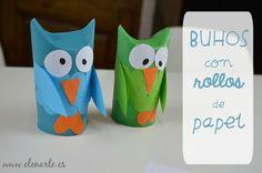 Búhos con rollos de papel | Aprender manualidades es facilisimo.com