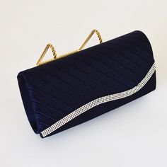 Pleated Clutch with Crystal Detail | EB0007 | Navy Blue – Karina Boutique