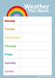 Free Printable Weather Activities for Kids weather chart Preschool Weather Chart, Weather Activities For Kids, Weather Charts, Educational Activities, Preschool Activities, Nursery Activities, Printable Calendar Template, Free Printables, Weekly Weather