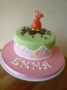 Pretty Peppa Pig cake with chocolate Peppa.