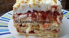 ΕΥΚΟΛΟ ΓΛΥΚΟ ΨΥΓΕΙΟΥ ΜΕ ΜΠΙΣΚΟΤΑ!!! ΥΛΙΚΑ 11/2 περίπου πακέτο μπισκότα πτι-μπερ 1 πακέτο μπισκότα σφολιατίνια 1 κούπα γαλα για τα μπισκότα 1 βαζάκι μαρμελάδα κόκκινα φρούτα κατά προτίμηση (φράουλα,βύσσινο ή κεράσι) ΥΛΙΚΑ ΓΙΑΤΗΝ ΚΡΕΜΑ 1 λίτρο γάλα 2 φακελάκια γκαρνί σκόνη βανίλια 3 φακελάκια Dessert Recipes, Desserts, Greek Recipes, Tiramisu, Recipies, Food And Drink, Menu, Sweets, Baking
