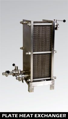 PLATE HEAT EXCHANGER :  It is used to reduce the temperature of the hot wort from 90 to 100° C to 16 to 20°C by passing refrigerant from one side and hot wort from the other side in sealed isolated stainless steel lazer welded plates. For more information please click here http://prodebbrewery.com/plate-heat-exchanger.html