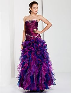 Ball Gown Strapless Ruched Top Cascading Ruffled Organza Quinceanera / Long Prom Dresses PD100550034