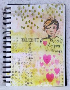 That's Blogging Crafty! - my journal page with Dina Wakley stamps and That's Crafty Dinky Stencils