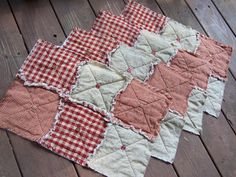 4 Placemats, Red Homespun Primitive Buttons- Handmade in NJ - on Etsy, $39.95