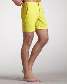 ORLEBAR-BROWN-250-yellow-side-tab-Bulldog-beach-swim-shorts-swimsuit-36-NEW
