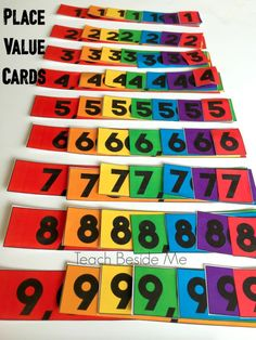 Printable rainbow place value cards for a fun hands on math lesson