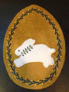 Primitive wool penny rug Easter Egg Easter Bunny by MaggysPennies, $15.00