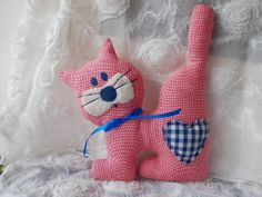 Stuffed cat rose handmade toy stuffed animal  by MadeByMiculinko, $25.00