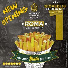 New Opening Queen's Chips Roma Via Salaria 17 #queenschips #lepiubelledelreame #fries #chips #viaspettiamo #tomorrowiscoming