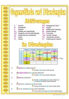 Gegenstände in der Schule (A) + Stundenplan - Deutsch Daf Arbeitsblatter Handout, Religion, Thing 1, Grammar, Periodic Table, Language, Learning, German Language, Middle School