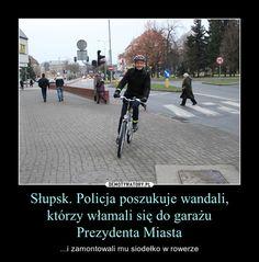 Słupsk. Policja poszukuje wandali, którzy włamali się do garażu Prezydenta Miasta – ...i zamontowali mu siodełko w rowerze