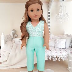 American girl doll teal pants and crop top American Girl Crafts, American Girl Clothes, American Dolls, Ag Doll Clothes, Doll Clothes Patterns, Doll Patterns, Teal Pants, America Girl, Pixie