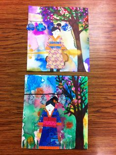 Washi Dolls with watercolor backgrounds and cherry blossom trees