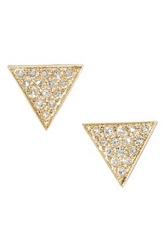 These triangle stud earrings will add some bling to any ensemble!