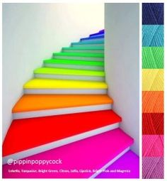 Rainbow stairs – a simple way of adding color and dynamism to a décor Neon Colour Palette, Rainbow Palette, Color Palate, Rainbow Colors, Rainbow Room, Yarn Color Combinations, Beautiful Color Combinations, Colour Schemes, Magenta