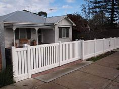 PVC Picket fence - never needs painting! PVC Picket fence - never needs painting! Sliding Fence Gate, Picket Fence Panels, White Picket Fence, White Fence, Vinyl Picket Fence, Picket Fences, Driveway Fence, Front Yard Fence, Front Gates