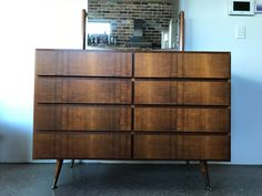 This fantastic largedresser is a great combination of solid timber & teak laminate. Unusually deep drawers for a mid century dresser. Has a pivoting bevelled mirror on brass mechanisms. These solid teak mirror arms can be unscrewed. | eBay!